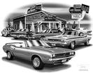 "1971 Dodge Challenger ""Flash Back print"" (1971 Convertible Featured)"