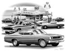 1970-73 Dodge Demon / Plymouth Duster Flash Back Print  (Duster Model Featured)