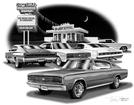 1966 DODGE CHARGER FLASH BACK PRINT (1966 HEMI MODEL FEATURED)