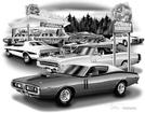 1969-73 DODGE CHARGER FLASH BACK PRINT (1971 HEMI MODEL FEATURED)