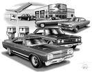 1967-70 Plymouth Belvedere / Gtx Flash Back Print (1967, 1968 Models Featured)