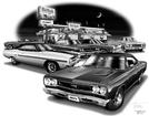 1967-70 Plymouth Belvedere / Gtx Flash Back Print (1968 Model Featured)