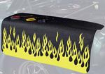 22 X 34 YELLOW/SILVER FLAMES ON BLACK GRIPPER FENDER COVER
