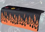 22 X 34 ORANGE FLAMES ON BLACK GRIPPER FENDER COVER