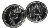 "Redline 5-3/4"" Round Black Elite Diamond Headlamps w/Single Color Halo - w/Clear H4 Halogen Bulbs"