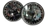 "Redline 7"" Round Blk Illusion White Diamond Headlamps w/Multi Color Halo - w/Clear H4 Halogen Bulbs"
