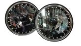 "Redline 7"" Round Black White Diamond Headlamps w/Single Color Halo - w/Clear H4 Halogen Bulbs"