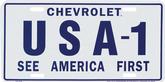 CHEVROLET USA-1 SEE AMERICA FIRST LICENCE PLATE