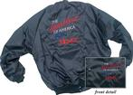 "Black Satin Jacket With ""Heartbeat Of America"" Logo And ""Nova"" Script (Xxxl)"