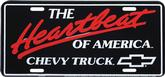 BLACK / RED / WHITE THE HEARTBEAT OF AMERICA CHEVY TRUCKS LICENSE PLATE