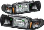 1991-96 Impala / Caprice Black 1 Piece Led Crystal Headlights