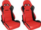 Procar Sportsman Pro Reclining Bucket Seat - Red Vinyl with Black Vinyl Side Trim