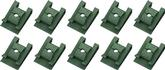 High Torque U-Type Clip Nut, Fits #8 Screw, Green Phosphate Coated, 10 Piece Set