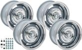 "1967-70 Chevrolet Truck; 71-76 Impala/Full-size -  15"" X 7"" Standard Style Silver Rally Wheel Kit"