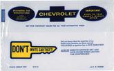 1969-72 CHEVROLET OWNERS MANUAL STORAGE BAG