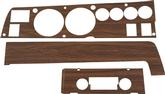 1970 MOPAR B-BODY WITH AC AND STADARD RADIO 4 PIECE RALLYE WOODGRAIN INSERT SET W/O LETTERING