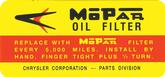 1960-65 Mopar Oil Filter Decal