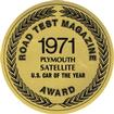1971 PLYMOUTH SATELLITE CAR OF THE YEAR DECAL