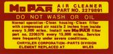 1963-65 MOPAR AIR CLEANER SERVICE INSTRUCTIONS DECAL