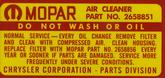 1966-67 MOPAR 426 2-4V HEMI AIR CLEANER SERVICE INSTRUCTIONS DECAL