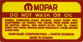 1966 MOPAR 318 AIR CLEANER SERVICE INSTRUCTIONS DECAL