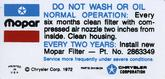 1972-74 Mopar Air Cleaner Service Instructions Decal (Blue/Black Print)