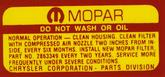 1968-72 Mopar 340, 360, 400, 440 Air Cleaner Lid Decal