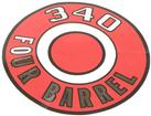 1966-70 MOPAR 340 FOUR BARREL RED AIR CLEANER LID DECAL