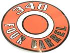 1966-71 MOPAR 340 FOUR BARREL ORANGE AIR CLEANER LID DECAL