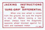 1964-71 Mopar A/B/E-Body Sure Grip Differential Warning Decal