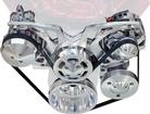 Chevrolet S/B With Short W/P Clear Powder Coat March Revolver Alt, AC & Remote Ps Serpentine Set