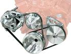 Chevy S/B Clear March Ultra High Flow Mid Mount Alt & PS (Keyway Style Pump) Serpentine Pulley Set