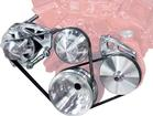 Chevy B/B Clear March Ultra High Flow Mid Mount Alt & PS (Keyway Style Pulley) Serpentine Pulley Set