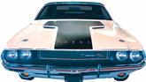 1970 Dodge Challenger Matte Black Hood Blackout Decal without R/T Cutouts