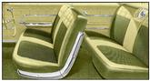 1962 IMPALA 2 DOOR HARDTOP WITH SPLIT BENCH GOLD & BLACK CLOTH / GOLD VINYL UPHOLSTERY SET