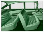 1959 IMPALA  4 DOOR SEDAN LIGHT/MED/DARK GREEN CLOTH / LIGHT/MEDIUM GREEN VINYL UPHOLSTERY SET