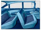 1959 IMPALA  4 DOOR SEDAN LIGHT/MED/DARK BLUE CLOTH & LIGHT/DARK BLUE VINYL UPHOLSTERY SET