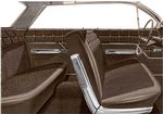 1962 Impala 4 Door Sedan With Front Bench Seat Fawn & Black Cloth / Fawn Vinyl Upholstery Set