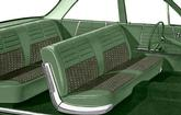1964 Impala 6 Passenger Wagon Light & Medium Green Cloth / Green Vinyl Upholstery Set
