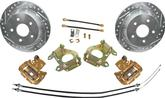 1955-81 9 FORD REAR END REAR DISK BRAKE UPGRADE SET WITH 10-3/4 DRILLED AND SLOTTED ROTORS