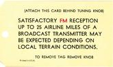 1967-68 Radio Antenna Adjust Card