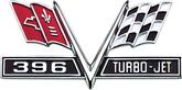 "12"" X 6"" 1965-67 396 Turbo Jet V-Flag Metal Sign"