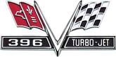 "24"" X 12"" 1965-67 396 Turbo Jet V-Flag Metal Sign"