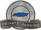 "18"" x 14"" Hot Rod Garage Blue Bow Tie Private Parking Metal Sign"