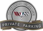 "18"" x 14"" Hot Rod Garage V-Flag Private Parking Metal Sign"