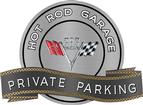"18"" X 14"" Hot Rod Garage 383 V-Flag Private Parking Metal Sign"