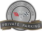 "18"" x 14"" Hot Rod Garage 454 V-Flag Private Parking Metal Sign"