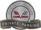 "18"" x 14"" Hot Rod Garage 427 V-Flag Private Parking Metal Sign"