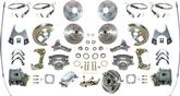 1967 FOUR WHEEL POWER DISC BRAKE CONV KIT NON-STAGGERED REAR SHOCKS DRILLED/SLOTTED CHROME