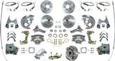 1967 FOUR WHEEL MANUAL DISC BRAKE CONV KIT NON-STAGGERED SHOCKS DRILLED/SLOTTED ROTORS CHROME M/C